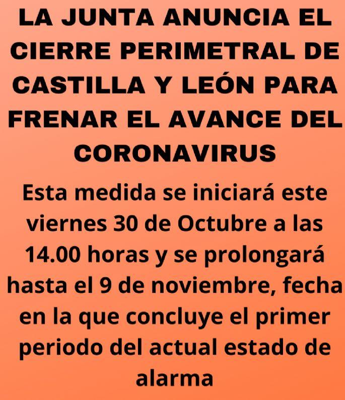 La junta anuncia el cierre perimetral de Castilla y León