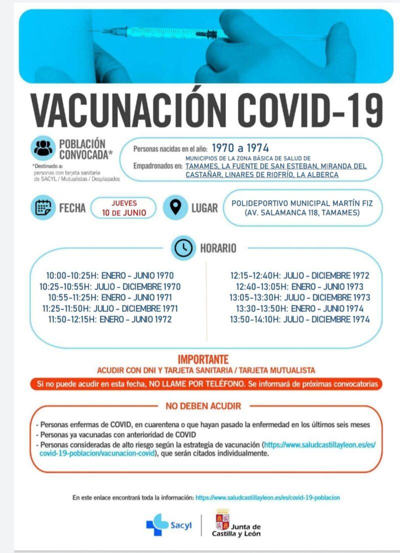 VACUNACIÓN EN TAMAMES EL 10-06-2021