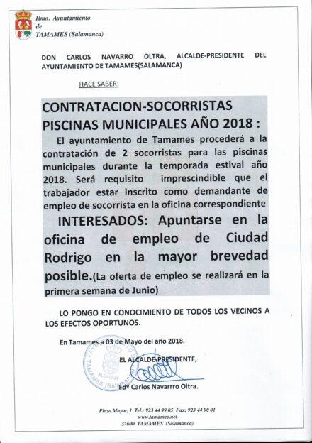 Contratación socorristas piscinas municipales temporada 2018