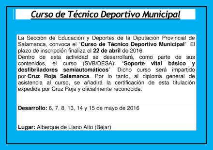 Curso de Técnico Deportivo Municipal