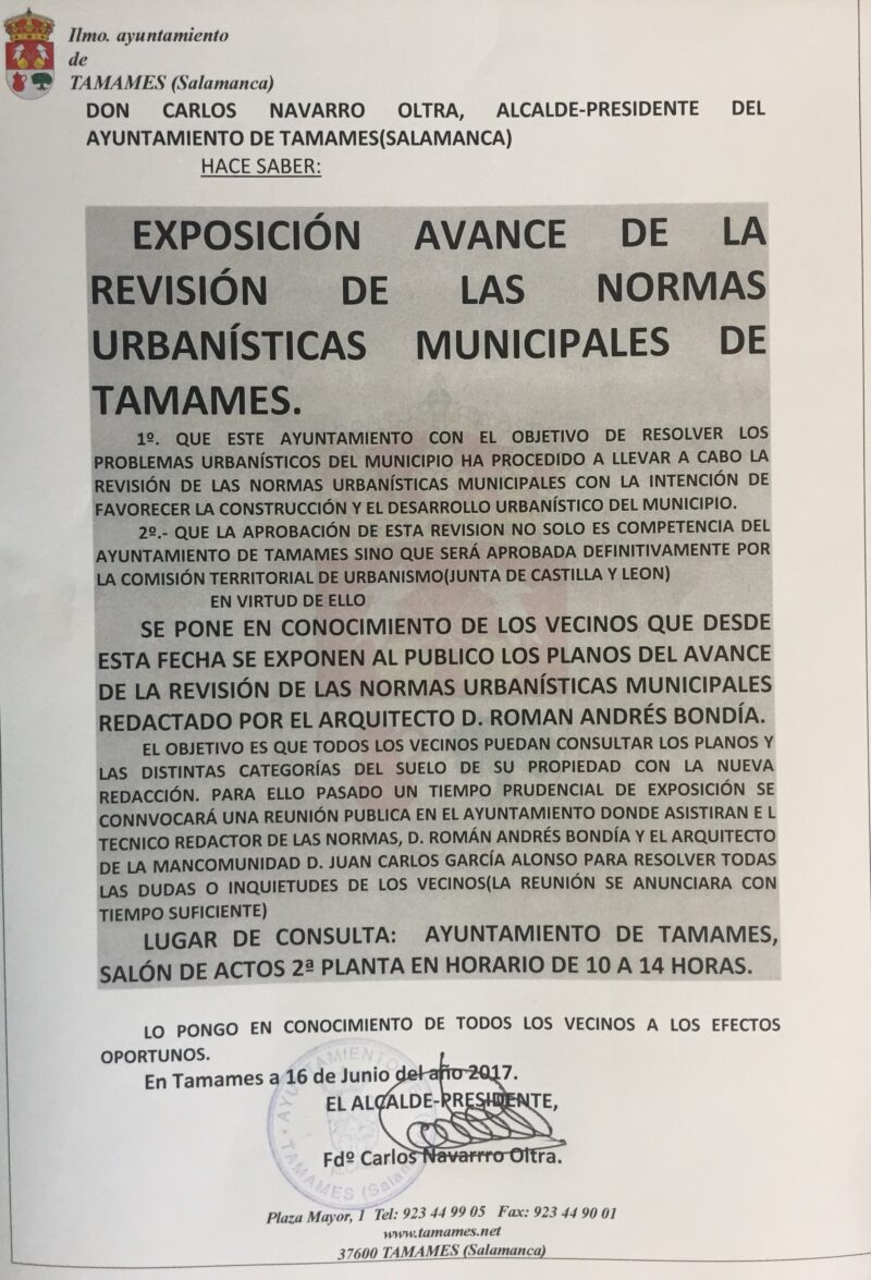 Exposición avance de las normas urbanísticas de Tamames