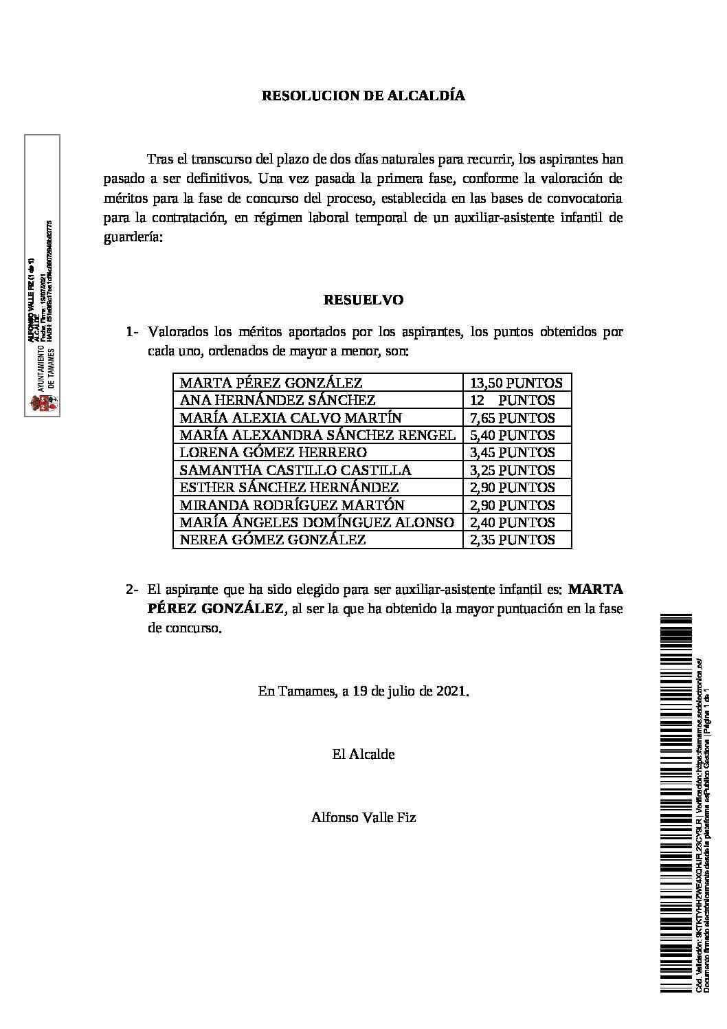 RESOLUCIÓN ALCALDÍA