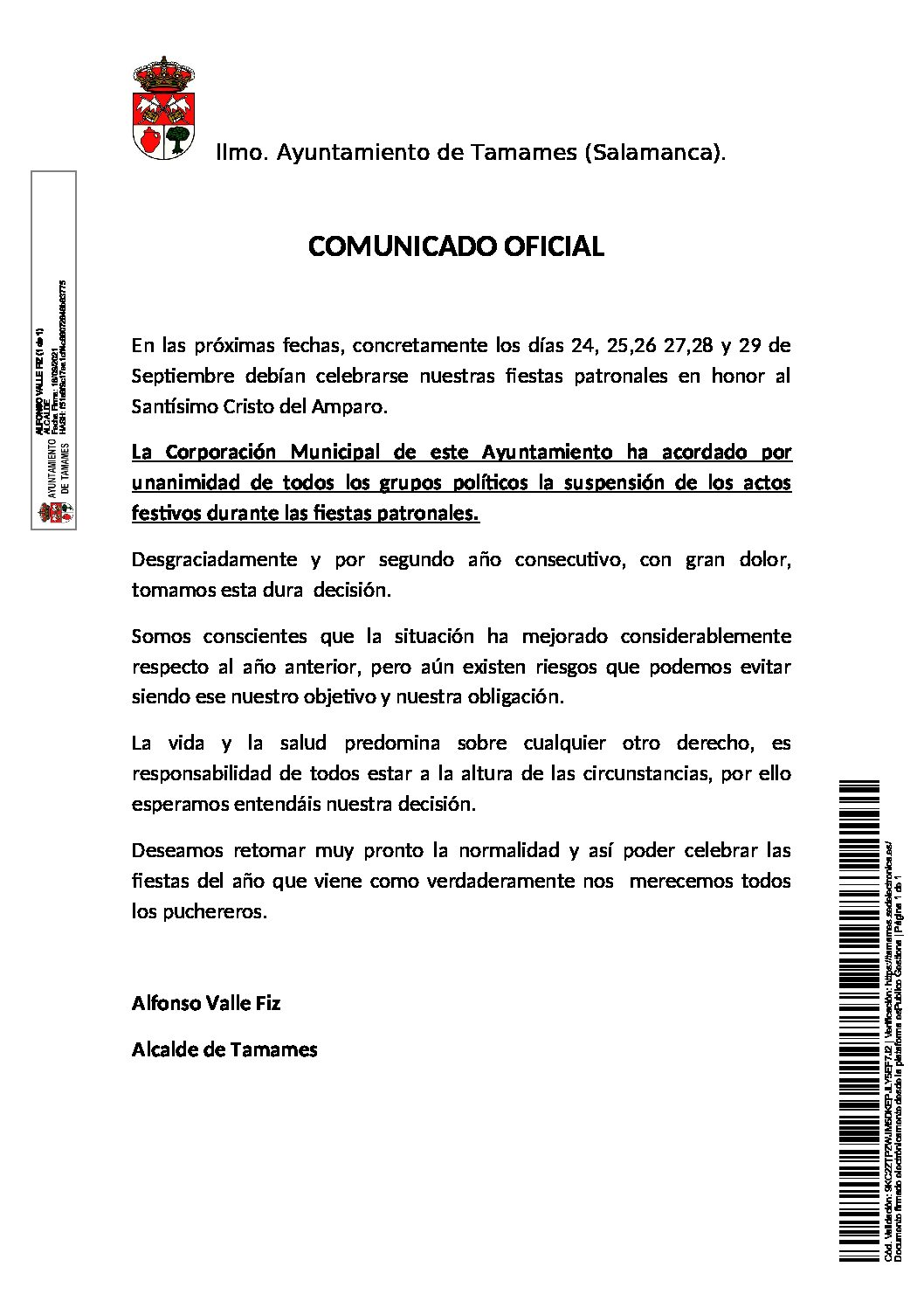 COMUNICADO OFICIAL SUSPENSIÓN DE FIESTAS PATRONALES 2021