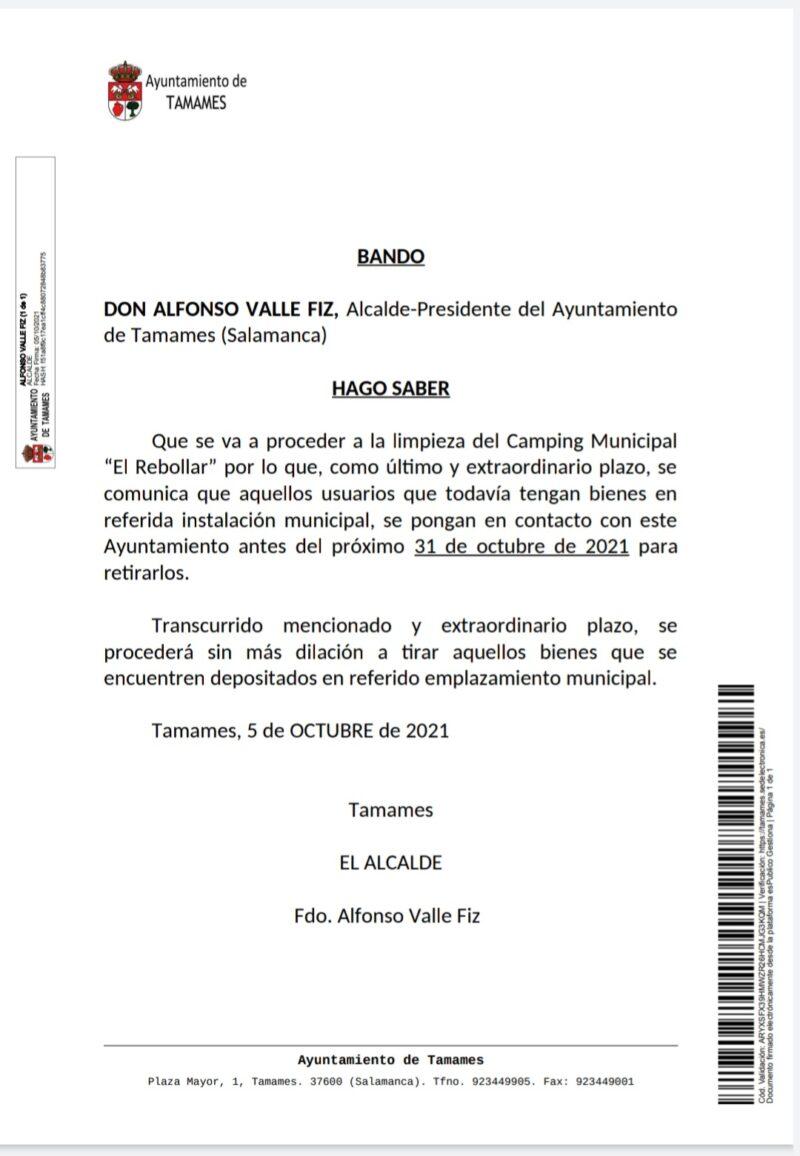 BANDO AYUNTAMIENTO DE TAMAMES
